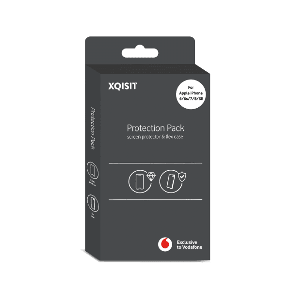 XQISIT Protection Pack for Apple iPhone SE 2020 Flex Case Clear and Screen Protector